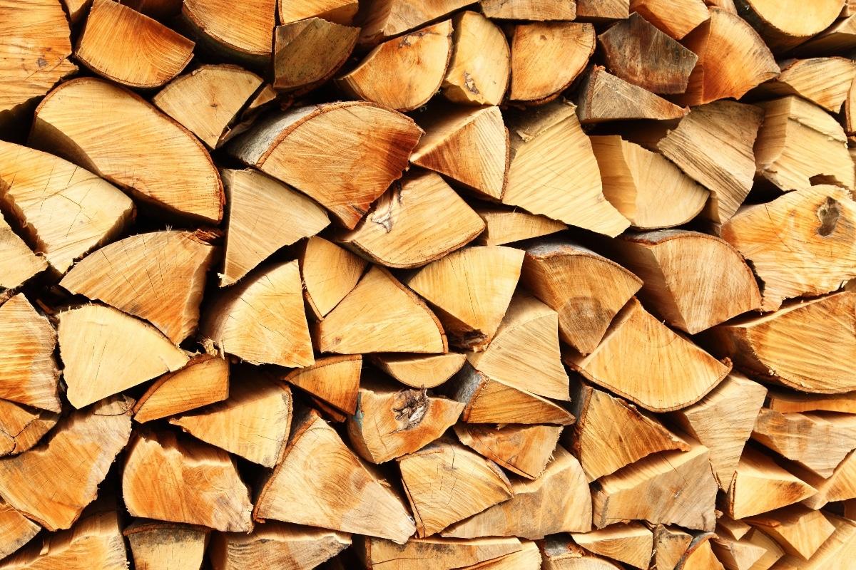 biomassaketel houtblokken